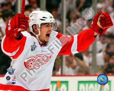 Framed Jiri Hudler Celebrates his Game Winning Goal in Game 4 of the 2008 NHL Stanley Cup Finals Print