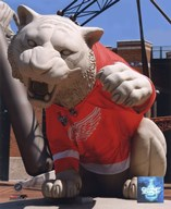 Comerica Park Statue With Detroit Red Wings 2008 Stanley Cup Jersey Art