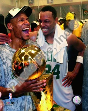 Framed Ray Allen & Paul Pierce, Game Six of the 2008 NBA Finals With Trophy, In the Locker Room #34 Print