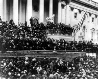 President Abraham Lincoln gives his inaugural speech during his second inauguration on March 4th 1865
