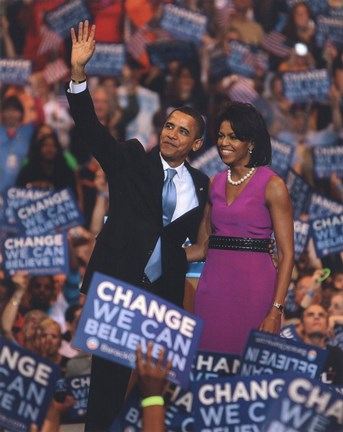 Framed Barack & Michelle Obama at an election night rally at the Xcel Energy Center June 3, 2008 in St. Paul, Minnesota.; #77 Print