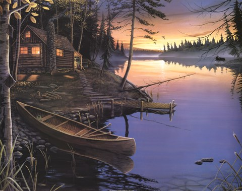 Framed Canoe at the Cabin Print