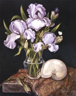 Purple Iris with Shell Art