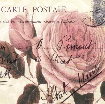 Framed Carte Postale Rose II Print