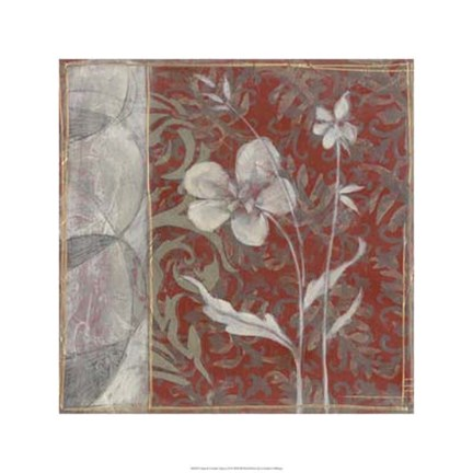Framed Taupe and Cinnabar Tapestry III Print