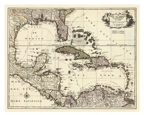 Framed Map of the Gulf of Mexico Print