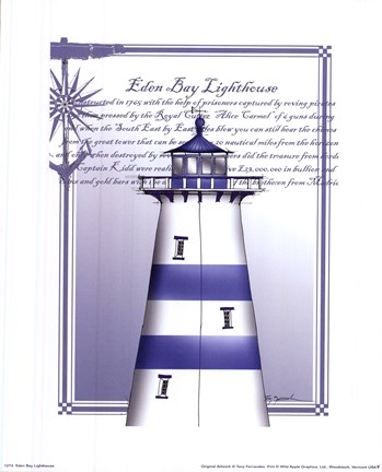 Framed Eden Bay Lighthouse Print