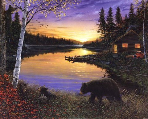 Cabin On The Pond Sunset Fine Art Print By Ervin Molnar At