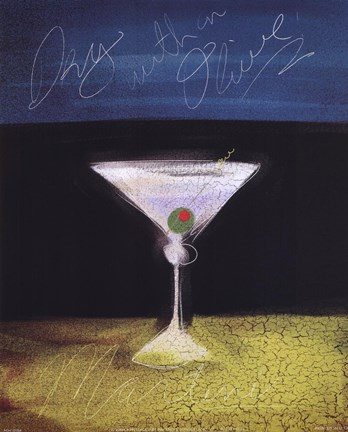 Framed Dry Martini with Olive Print