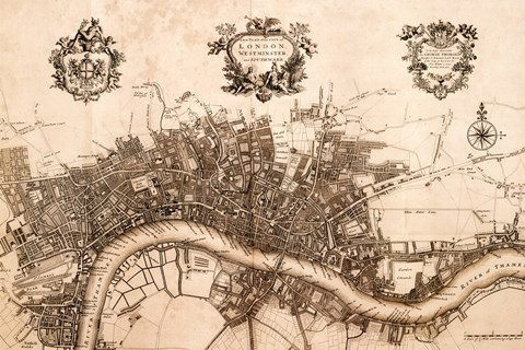Framed Plan of the City of London, 1720 Print