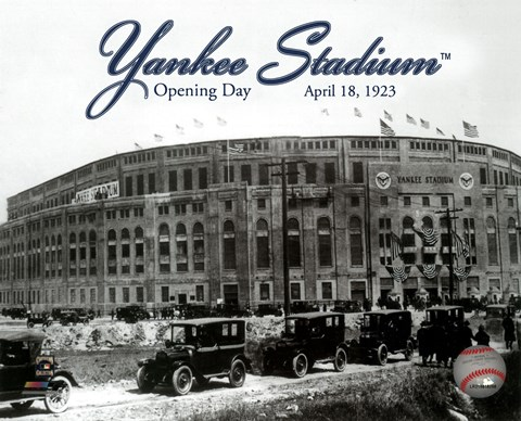 Framed Yankee Stadium 1923 Opening Day With Overlay Print