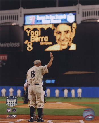Framed Yogi Berra Final Game At Yankee Stadium 2008 Print