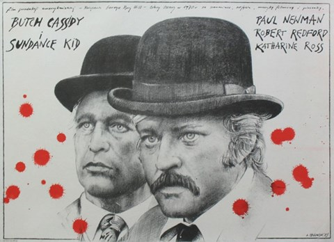 Framed Butch Cassidy and the Sundance Kid B&W Blood Splatter Print