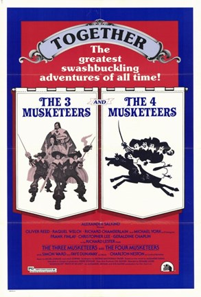 Framed Three Musketeers/Four Musketeers Print