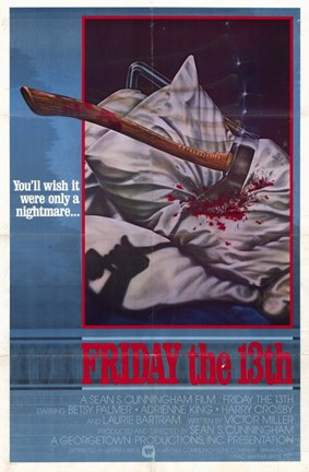 Framed Friday the 13th Bloody Axe Print