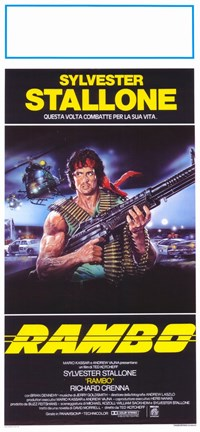 Framed Rambo: First Blood Stallone with Automatic Rifle Print