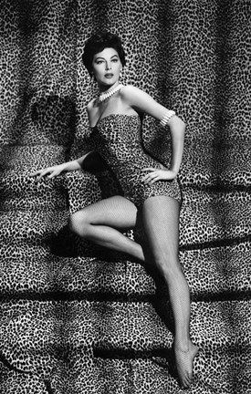 Framed Ava Gardner In Leopard Print Bathing Suit Print