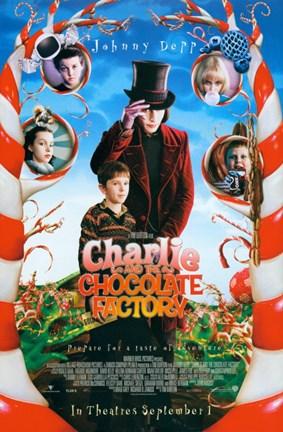Framed Charlie and the Chocolate Factory Candy Cane Trees Print