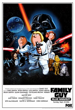Framed Family Guy Star Wars Print