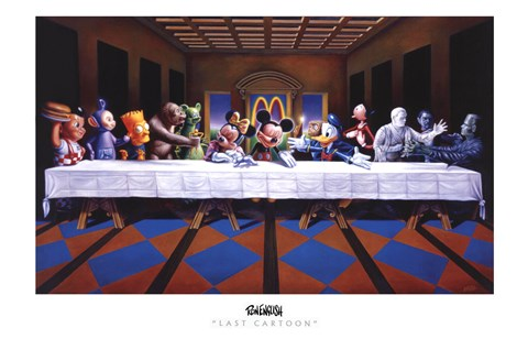 Framed Last Cartoon (last supper parody) Print