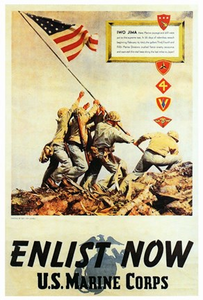 Framed Vintage Iwo Jima Enlist Now Print