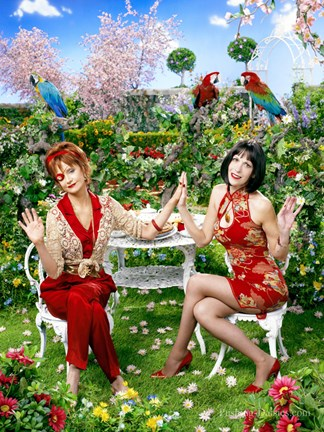 Framed Pushing Daisies Lily and Vivian Lawn Chairs Print
