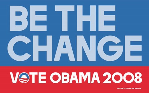Framed Barack Obama - (Be The Change) Campaign Poster Print
