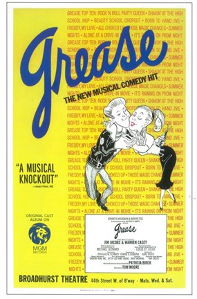 Framed Grease (Broadway) New Musical Comedy Print