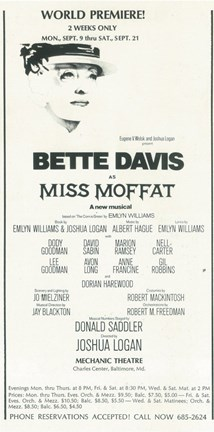 Framed Miss Moffat (Broadway) Print