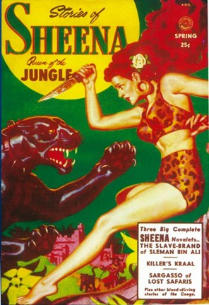 Framed Sheena Queen of The Jungle (Pulp) Print