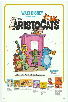 Framed Aristocats Movie Print