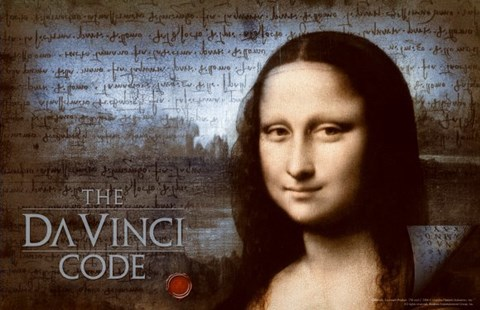 Framed Da Vinci Code Mona Lisa Blue Background Print