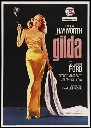 Framed Gilda Rita Hayworth with Coat Print