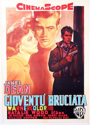 Framed Rebel Without a Cause with a Gun Print