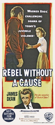 Framed Rebel Without a Cause Vertical Teenage Violence Print