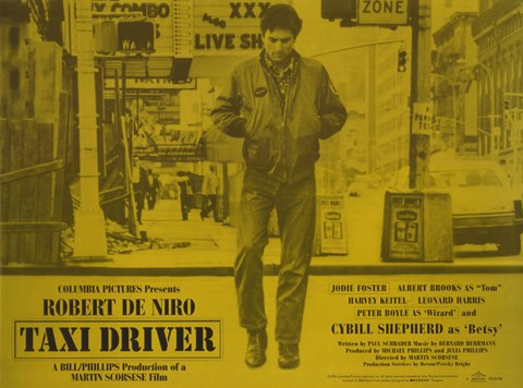 Framed Taxi Driver Yellow Horizontal Print