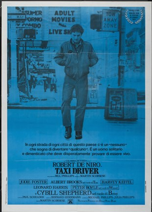 Framed Taxi Driver Dark Blue Print