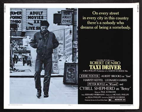 Framed Taxi Driver Light Blue Horizontal Print