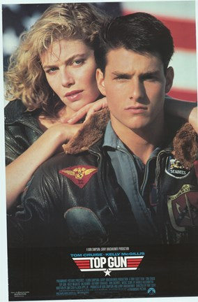 Framed Top Gun Tom Cruise & Kelly McGillis Print