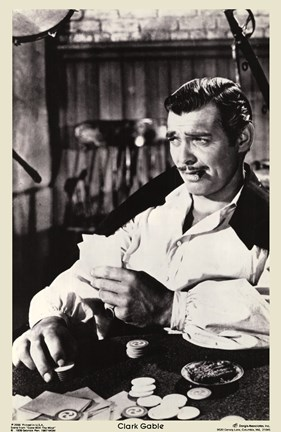 Framed Gone With The Wind Clark Gable Black & White Print