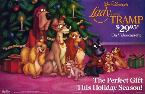 Framed Lady and the Tramp Christmas Print