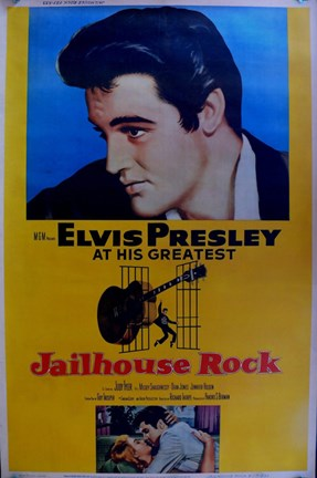 Framed Jailhouse Rock Yellow Elvis Presley Print