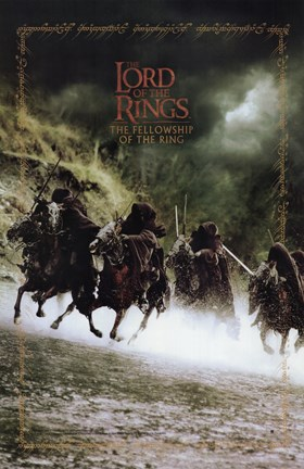 Framed Lord of the Rings: Fellowship of the Ring Battling on Horses Print