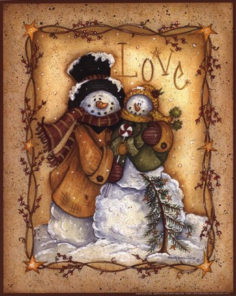 Framed Snow Folk Love Print