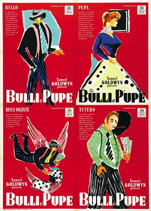 Framed Guys and Dolls Bulli e Pupe 4 Shots Print