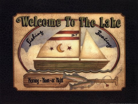 Framed Welcome to the Lake Print