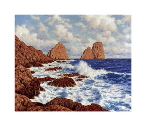 Framed Rocks at Capri Print