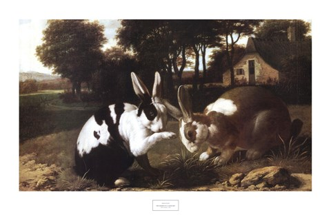 Framed Two Rabbits in a Landscape Print