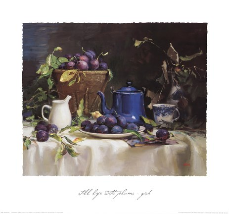 Framed Still Life with Plums Print