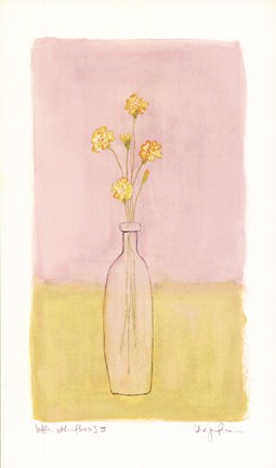 Framed Bottle With Flowers lll Print